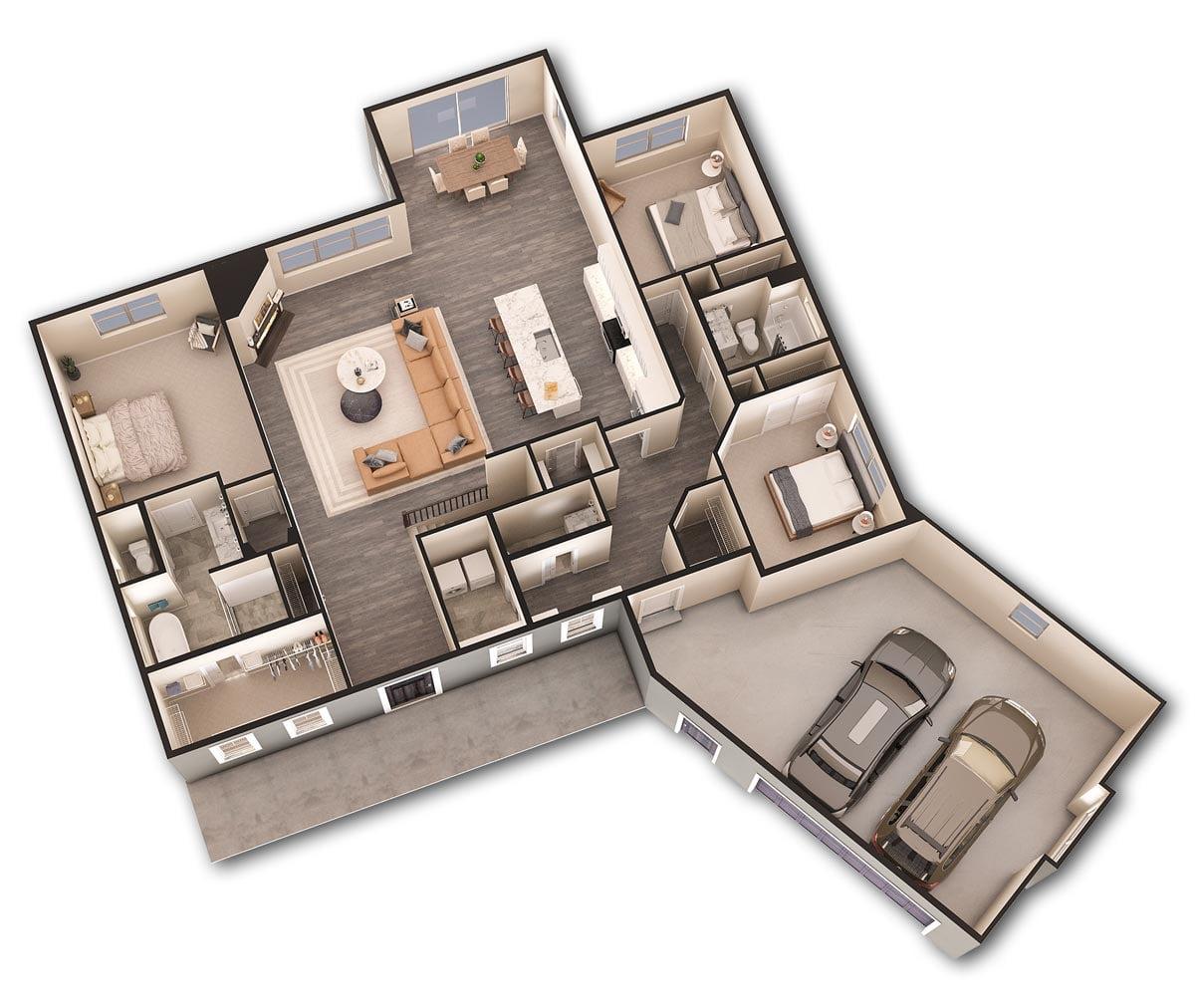 Shady Rock 3d floor plan
